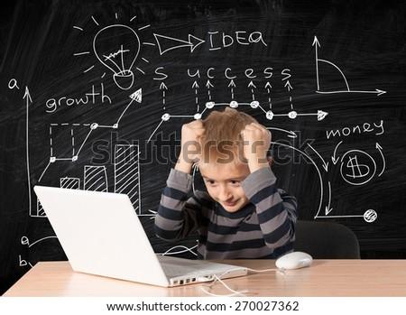 Child. Computer Kid 03 - stock photo