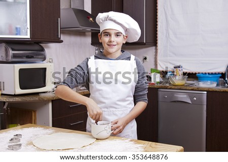 child cooking at home - stock photo