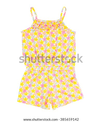 Child cotton overalls with floral pattern. Front side. Isolated on a white background. - stock photo