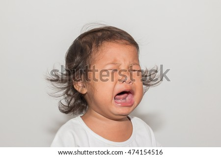 Child crying isolated.