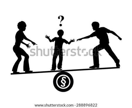 Child Custody Quarrel. Parents trying to influence their children when they divorce in order to get their favor - stock photo