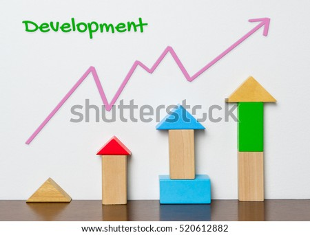 Child Development graph with toy block concept
