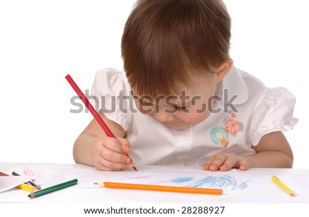 Child draw with red crayon, isolated over white