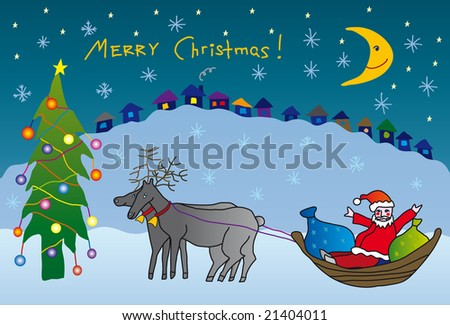 child drawing christmas postcard - stock photo