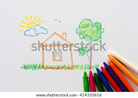 child drawing home, drawing with pencil painting picture on paper, artwork workplace - stock photo