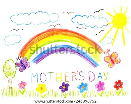 Child drawing mothers day. Flowers, sun and rainbow on a greeting cards