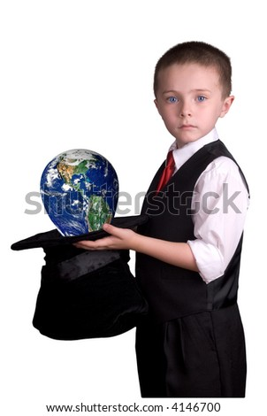 child dressed as a magician with hat full of the earth isolated over a white background - stock photo