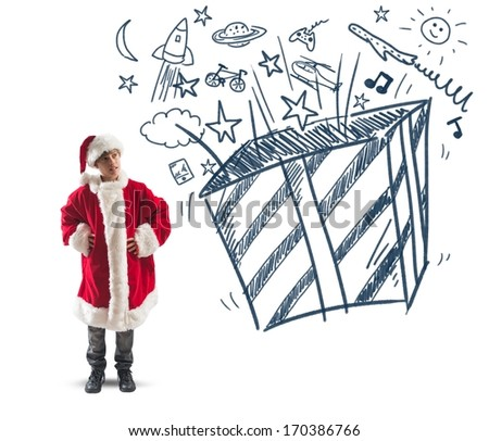 Child dressed as Santa Claus dreams of Christmas gifts - stock photo
