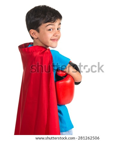 Child dressed like superhero - stock photo