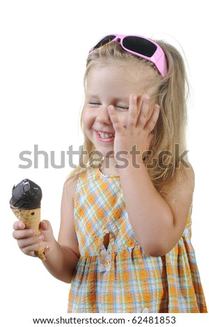 child eating ice cream. Isolated on a white background