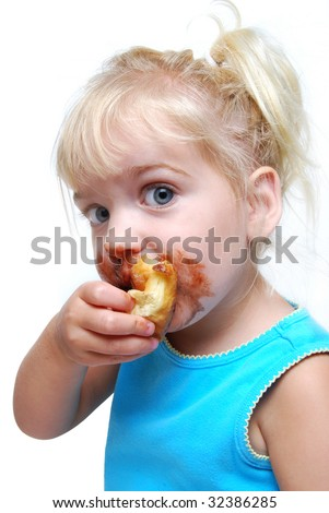 child eating messy food - stock photo