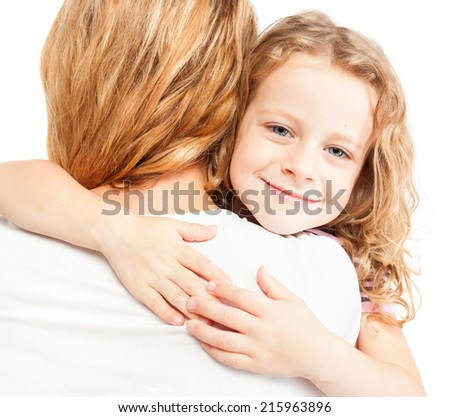 Child embracing mother. Girl with female.  - stock photo