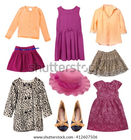 Child girl collage clothes isolated on white. Elegant set of female kid clothing.Different stylish apparel. - stock photo