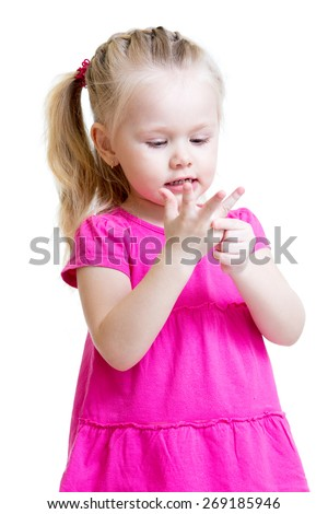 child girl counting on fingers of her hands isolated - stock photo