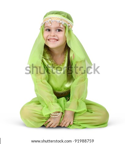 child girl dressed arabian isolated on white