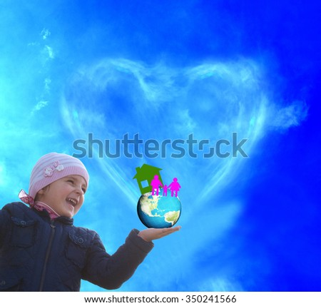 Child girl, globe planet earth.paper home and paper family.family day - stock photo