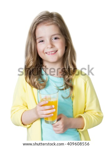 Child girl holding glass of orange juice isolated on white.Caucasian kid portrait.Toddler healthy vitamin nutrition concept. - stock photo