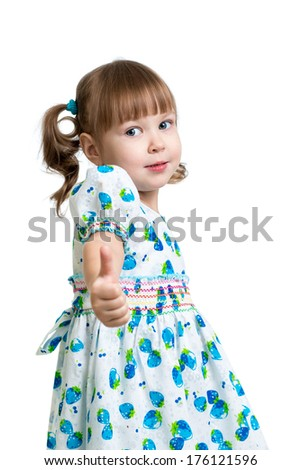 child girl showing thumbs up - stock photo