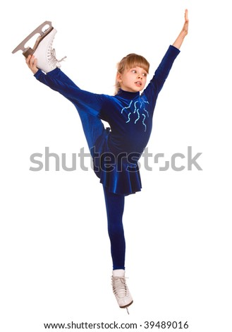 Child girl  sport figure skating in white skate. Isolated.