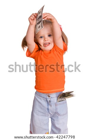 Child girl with dollar banknote. Isolated. - stock photo
