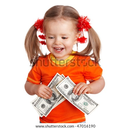 Child girl with money dollar banknote. Isolated. - stock photo