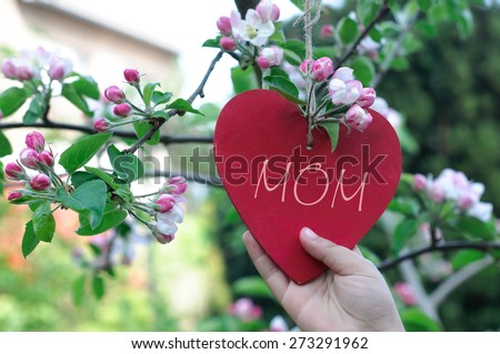Child Hand Hanging Heart in Blooming Tree - Mother's Day Concept - stock photo
