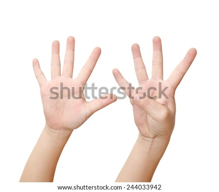 Child hand is showing nine fingers isolated on white background - stock photo