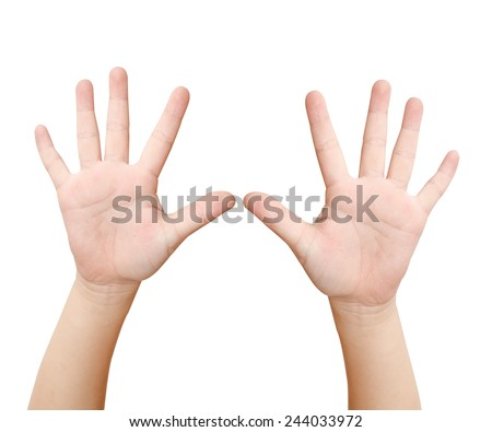 Child hand is showing ten fingers isolated on white background - stock photo