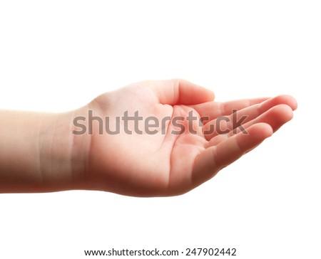 Child hand isolated on white - stock photo