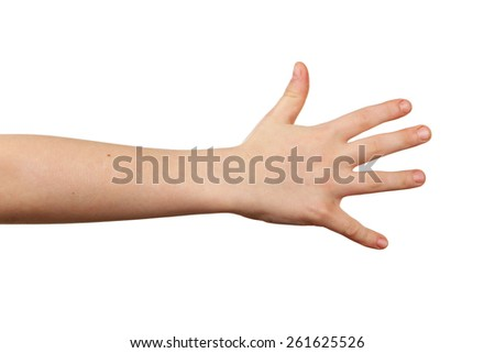 Child hand on white background - stock photo