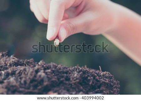 child hand seeding for planting over green environment background  - stock photo