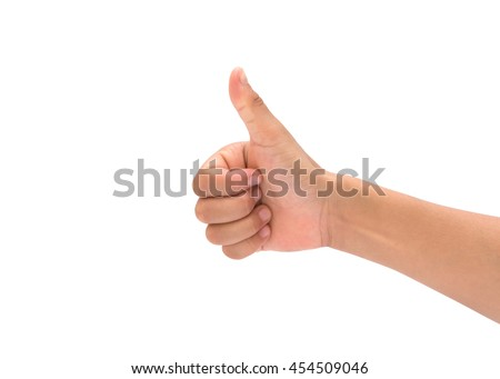 child hand showing one or like count isolated on white background. - stock photo