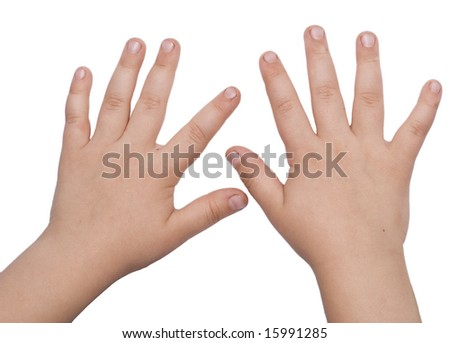 child hands isolated on white - stock photo