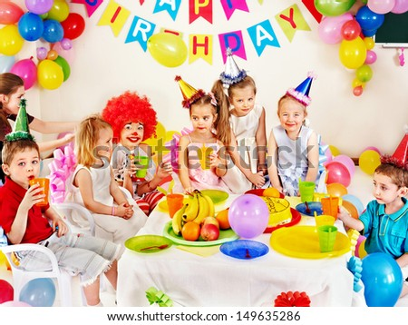 Child happy birthday party .