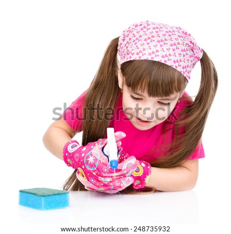 child helps with cleaning the house. isolated on white background - stock photo