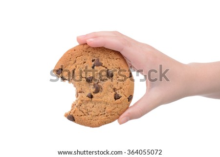 child holding a chocolate chip cookie isolated white background - stock photo