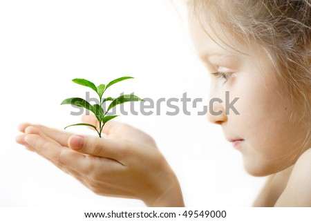 child holding a sprout at her hands on a white background - stock photo