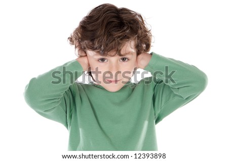 Child holding his hands against his ears a over white background - stock photo