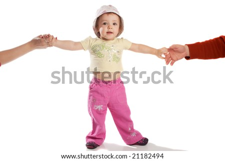 Child holding parents' hands, isolated - stock photo