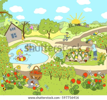 Child illustration. Summer picture in the garden, in the country, on the nature. Warm day, fly butterflies, growing strawberries. Children rest, sunbathe, water the flowers, bathe in the pond