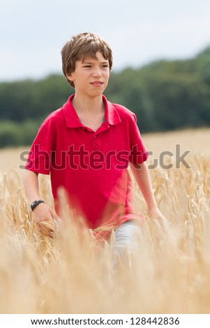 child in a wheat field - stock photo