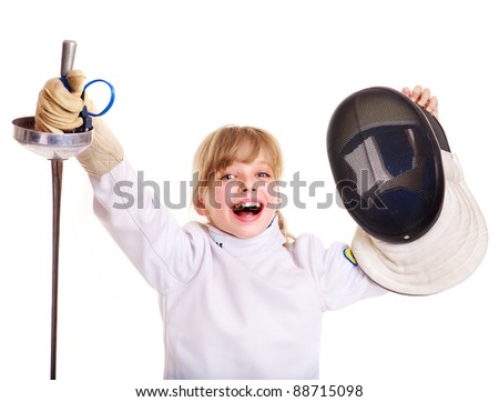 Child in fencing costume holding epee. Isolated. - stock photo