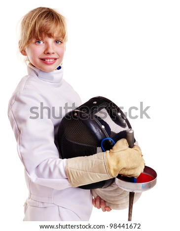 Child in fencing costume holding epee . Isolated. - stock photo