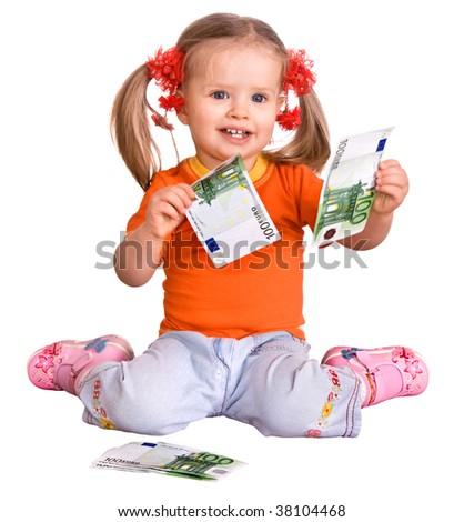 Child in orange t-shirt with money euro. Isolated. - stock photo