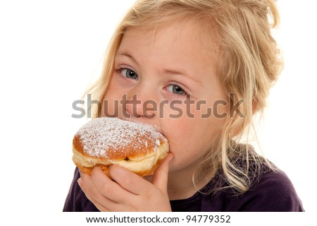 child in the carnival with donuts. donuts. against a white background