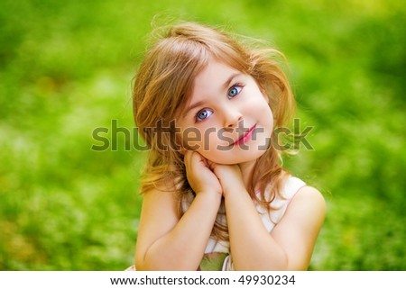 child in the garden - stock photo