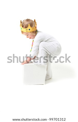 Child is king. toddler with crown isolated on white symbol for ruler - stock photo