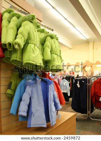 child jaket in shop - stock photo