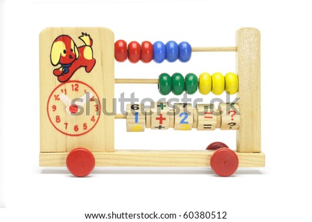 Child learning toy abacus and clock on wheels