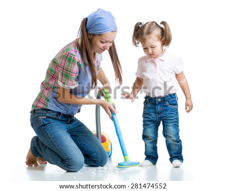 Child little girl and mom cleaning room isolated - stock photo
